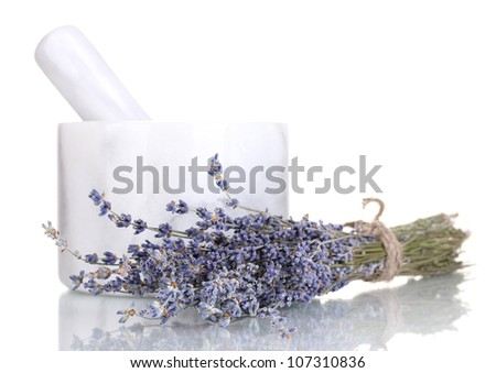 Lavender flowers with mortar isolated on white - stock photo