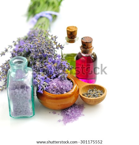 Lavender fresh and bath salt for aromatherapy and lavender oil - stock photo
