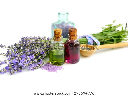 Lavender fresh and dry flowers and lavender oil - stock photo
