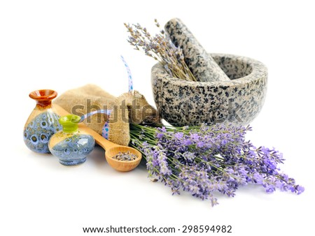 Lavender fresh and dry flowers on white background - stock photo