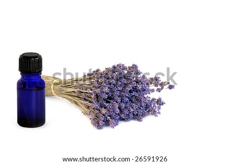 Lavender herb flowers tied  in a bunch with a blue essential oil glass bottle, over white background. - stock photo