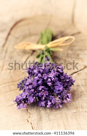 Lavender. Lavender -  bunch of lavender flowers on a wooden background. Lavender, lavender, lavender flower. Lavender bunch. Lavender aromatic. Lavender. Lavender. Lavender herb. Purple lavender. - stock photo