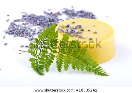 Lavender massage oil on a white background with a flower fern - stock photo