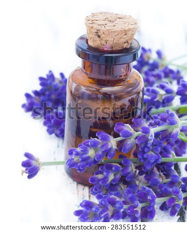 lavender oil in the glass bottle with fresh flowers on the wooden table - stock photo