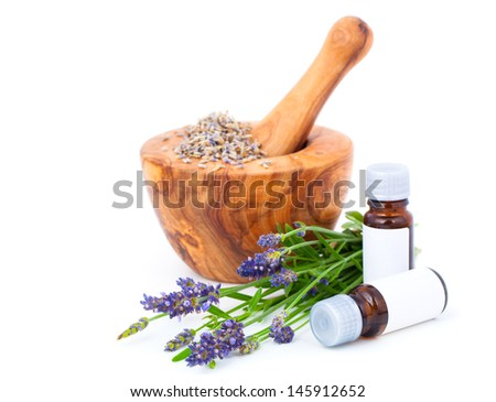 Lavender oil, over a white background. - stock photo