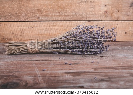 Lavender on a wooden background