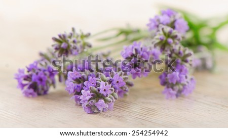 lavender on a wooden background. Selective focus - stock photo
