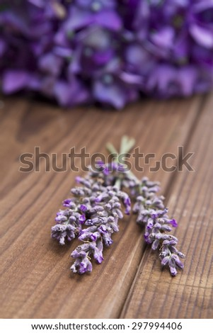 Lavender on wooden background - stock photo