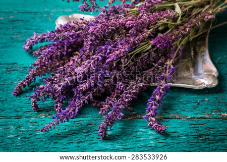 Lavender on wooden table - stock photo