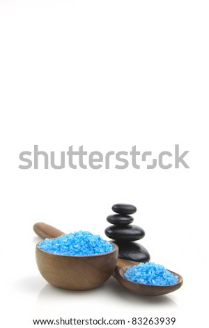 lavender organic salt for spa on a white background - stock photo
