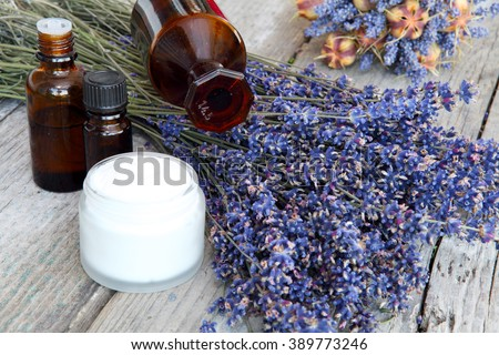 Lavender products, natural cosmetics  - stock photo