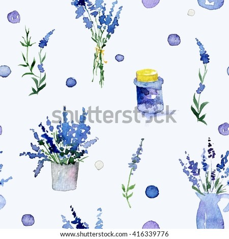 Lavender. Seamless watercolor pattern with flowers on the white background. Hand-drawn original floral background. Watercolor flowers.  - stock photo