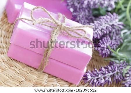 Lavender soap - stock photo