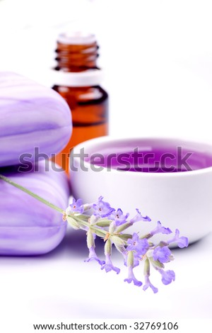 Lavender soap, extract and essential oil isolated on white background