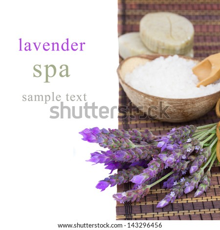 Lavender spa - fresh flowers and aromatic salt on a table - stock photo