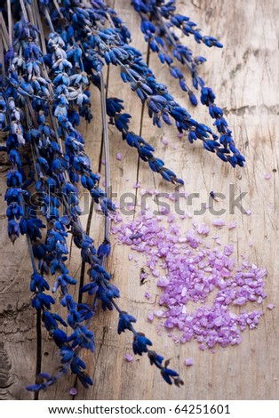 Lavender Spa over wood background - stock photo