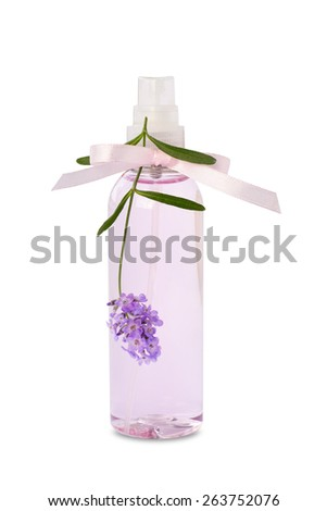 Lavender water  hydrosol spray bottle isolated on white background. - stock photo