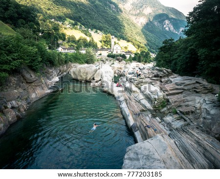 Lavertezzo Municipality District Locarno Canton Ticino Stock Photo