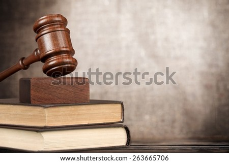 Law. A wooden mallet and a book on a white background - stock photo
