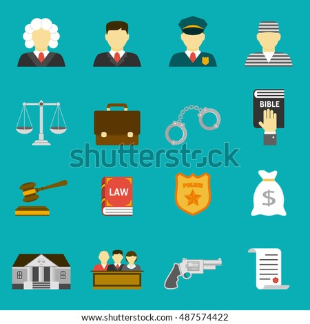 Law and justice flat icons set. The legal system, judge, lawyer and prisoner