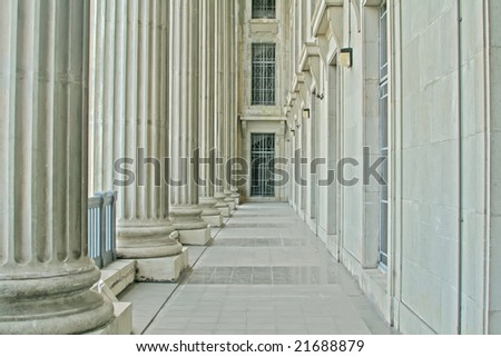 Law and Order Pillars in the Supreme Court - stock photo