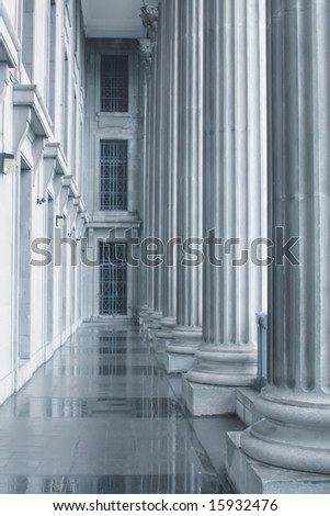 Law and Order Pillars in the Supreme Court during the morning - stock photo