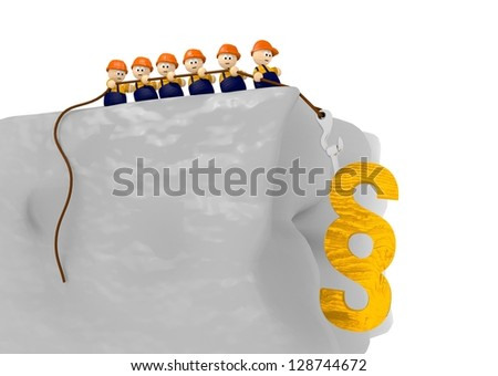 law at the construction site wit cute 3d characters pulling - stock photo