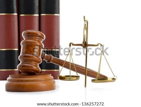 Law Books and Symbols - stock photo