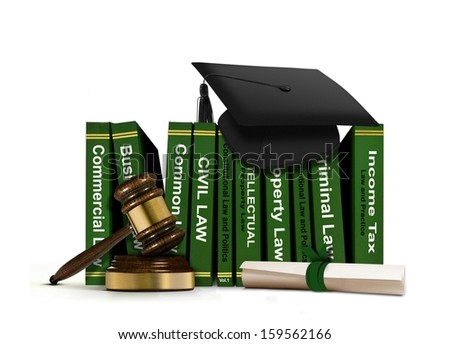 Law Books with Mortarboard and Scroll - stock photo