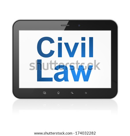 Law concept: black tablet pc computer with text Civil Law on display. Modern portable touch pad on White background, 3d render