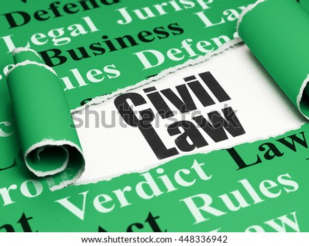 Law concept: black text Civil Law under the curled piece of Green torn paper with  Tag Cloud, 3D rendering