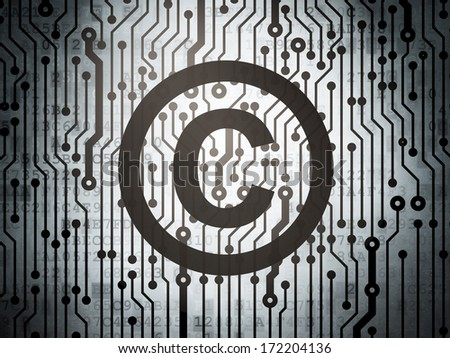 Law concept: circuit board with  Copyright icon, 3d render - stock photo