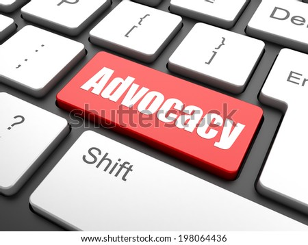 Law concept: computer keyboard with word Advocacy on enter button background, 3d render - stock photo