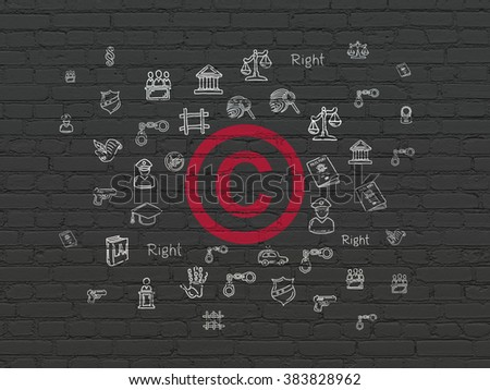 Law concept: Copyright on wall background - stock photo
