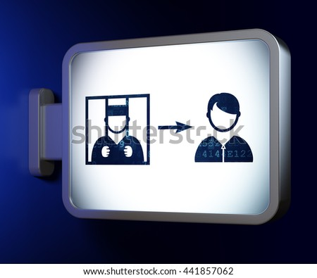 Law concept: Criminal Freed on advertising billboard background, 3D rendering - stock photo