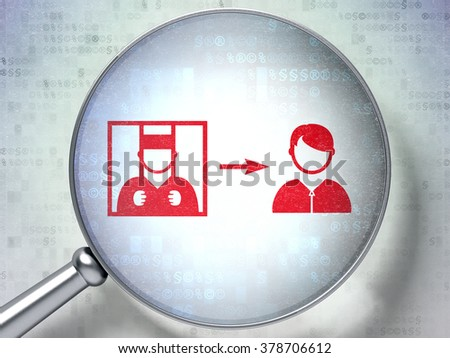 Law concept: Criminal Freed with optical glass on digital background - stock photo