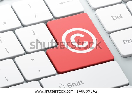 Law concept: Enter button with Copyright on computer keyboard background, 3d render - stock photo