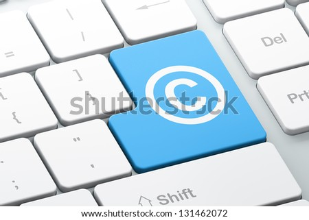 Law concept: Enter button with Copyright on computer keyboard, 3d render - stock photo