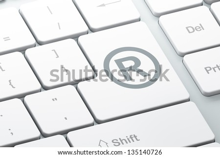 Law concept: Enter button with Registered on computer keyboard background, 3d render