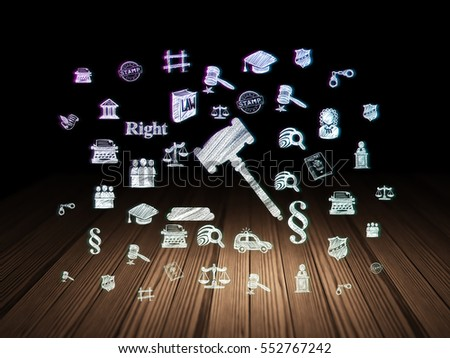 Law concept: Glowing Gavel icon in grunge dark room with Wooden Floor, black background with  Hand Drawn Law Icons