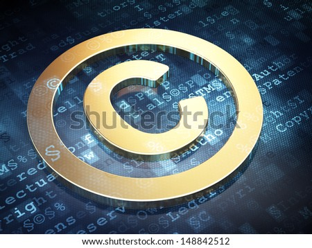 Law concept: Golden Copyright on digital background, 3d render - stock photo