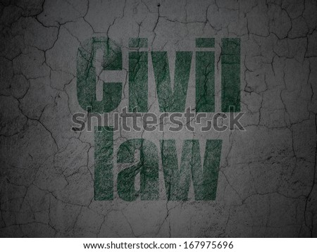 Law concept: Green Civil Law on grunge textured concrete wall background, 3d render