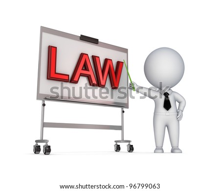LAW concept.Isolated on white background.3d rendered. - stock photo