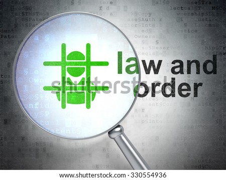 Law concept: magnifying optical glass with Criminal icon and Law And Order word on digital background - stock photo