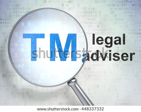 Law concept: magnifying optical glass with Trademark icon and Legal Adviser word on digital background, 3D rendering - stock photo