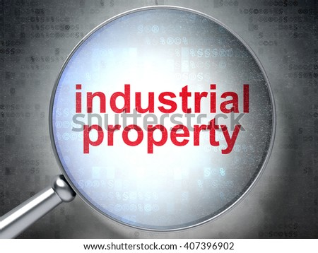 Law concept: magnifying optical glass with words Industrial Property on digital background, 3D rendering