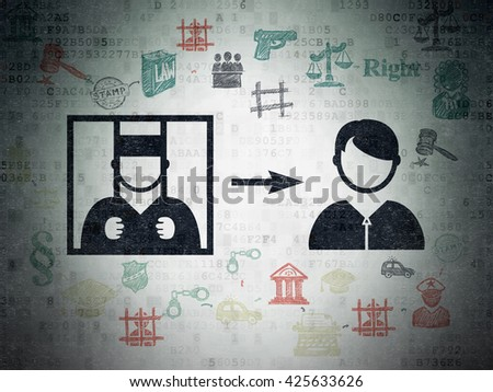 Law concept: Painted black Criminal Freed icon on Digital Data Paper background with Scheme Of Hand Drawn Law Icons - stock photo