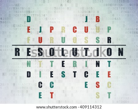 Law concept: Painted black word Resolution in solving Crossword Puzzle on Digital Data Paper background - stock photo