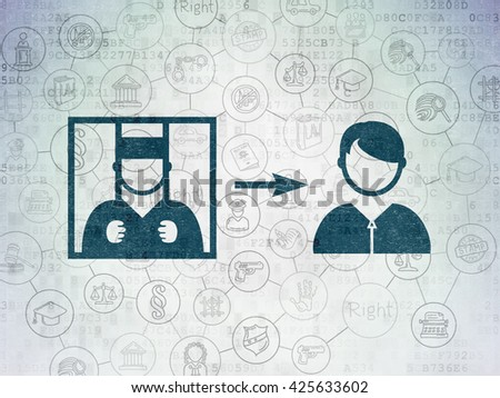 Law concept: Painted blue Criminal Freed icon on Digital Data Paper background with Scheme Of Hand Drawn Law Icons - stock photo