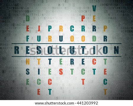 Law concept: Painted blue word Resolution in solving Crossword Puzzle on Digital Data Paper background - stock photo